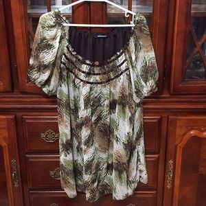 😀Pennington's sz 16 top, lined, green and brown